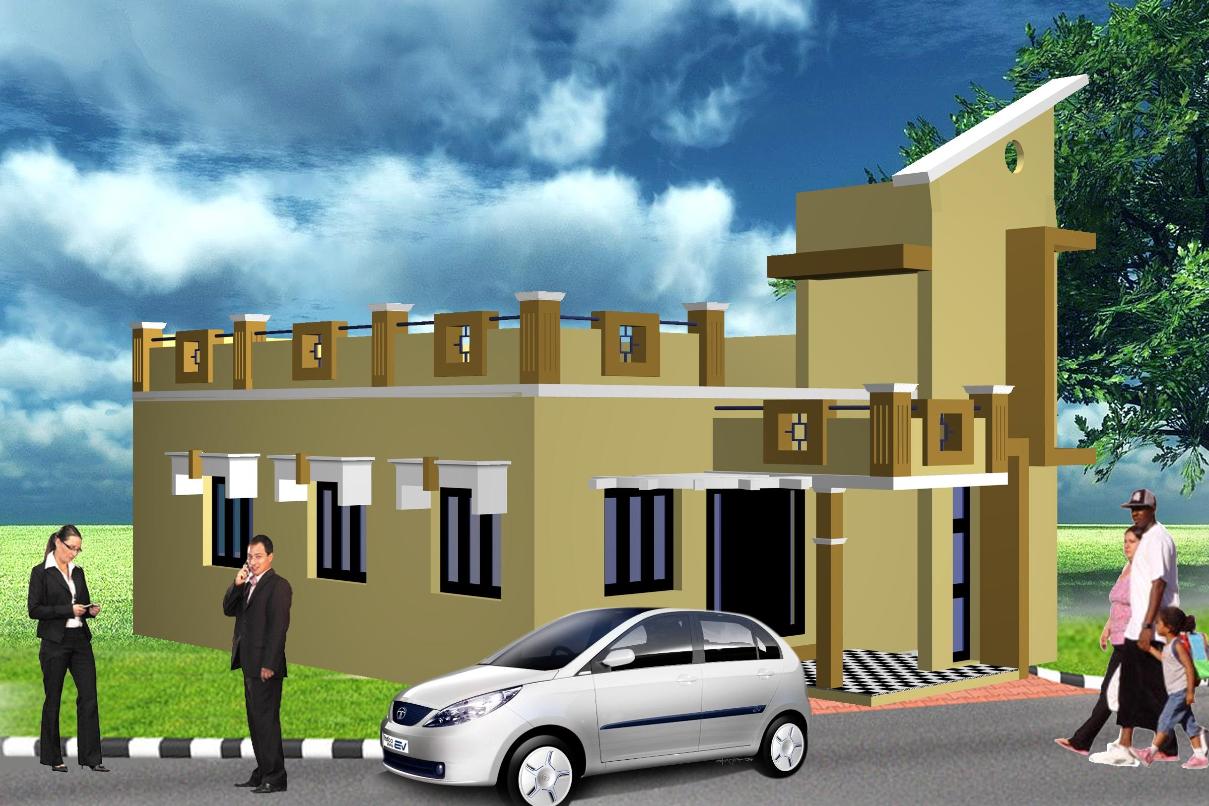 D Front Elevation Ground Floor : Ground floor elevation gharexpert