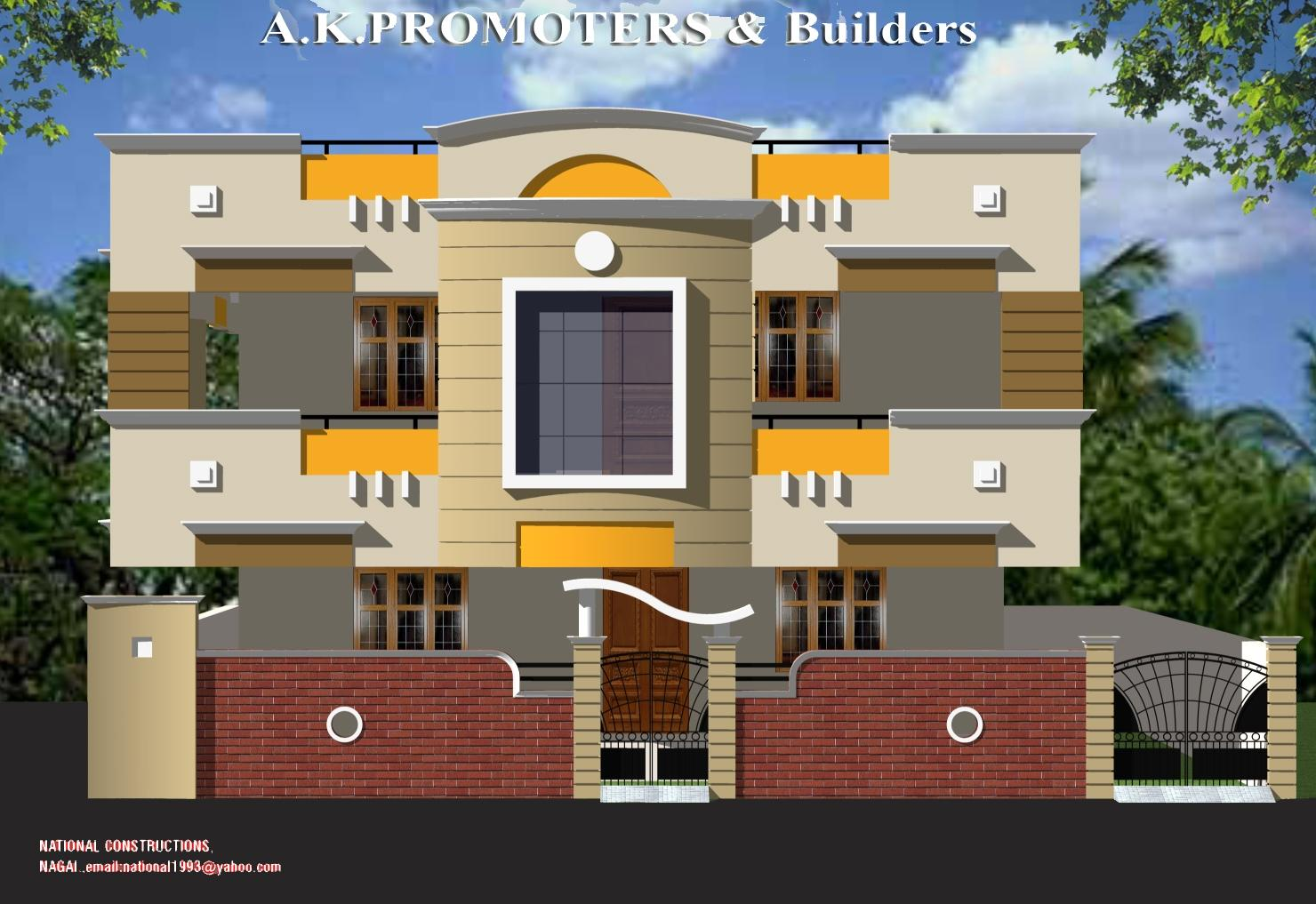 Building Front Elevation Paint : Duplex house elevation gharexpert