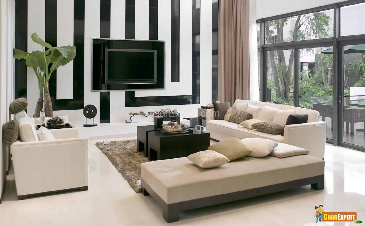 Living-room with the modern fu....