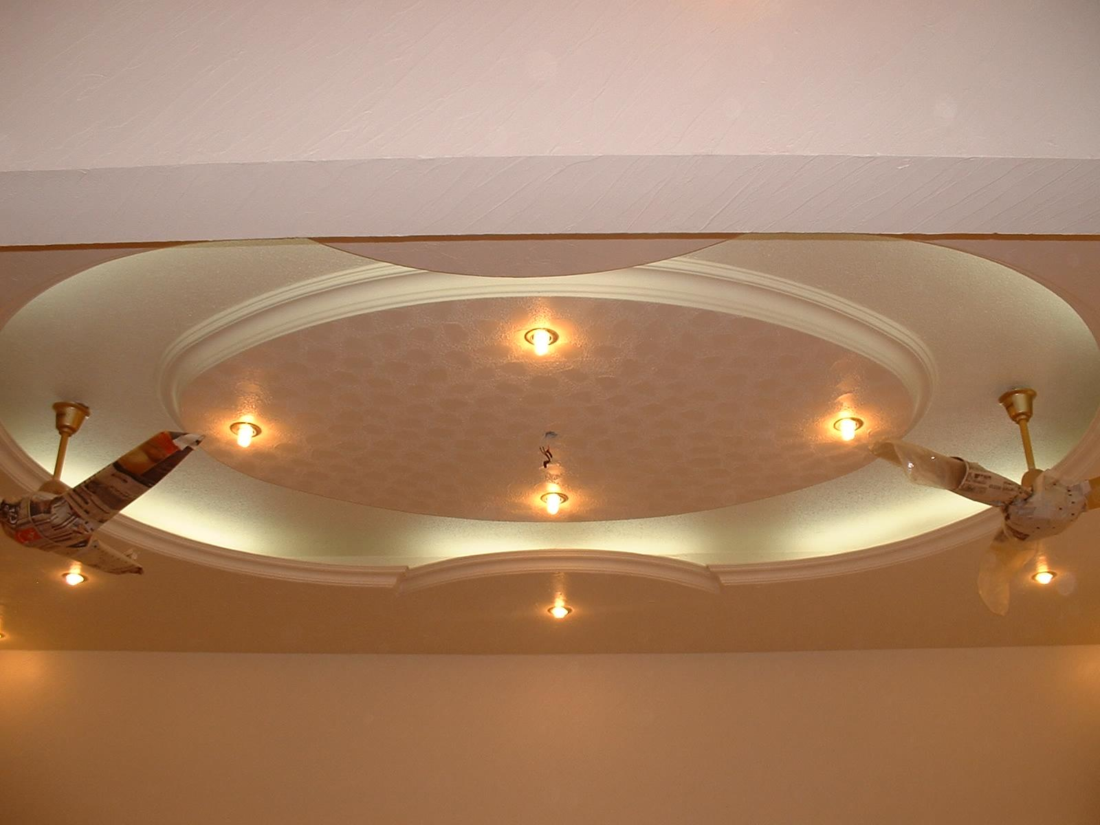 Pop ceiling with ceiling fans and lighting gharexpert for Wall ceiling pop designs