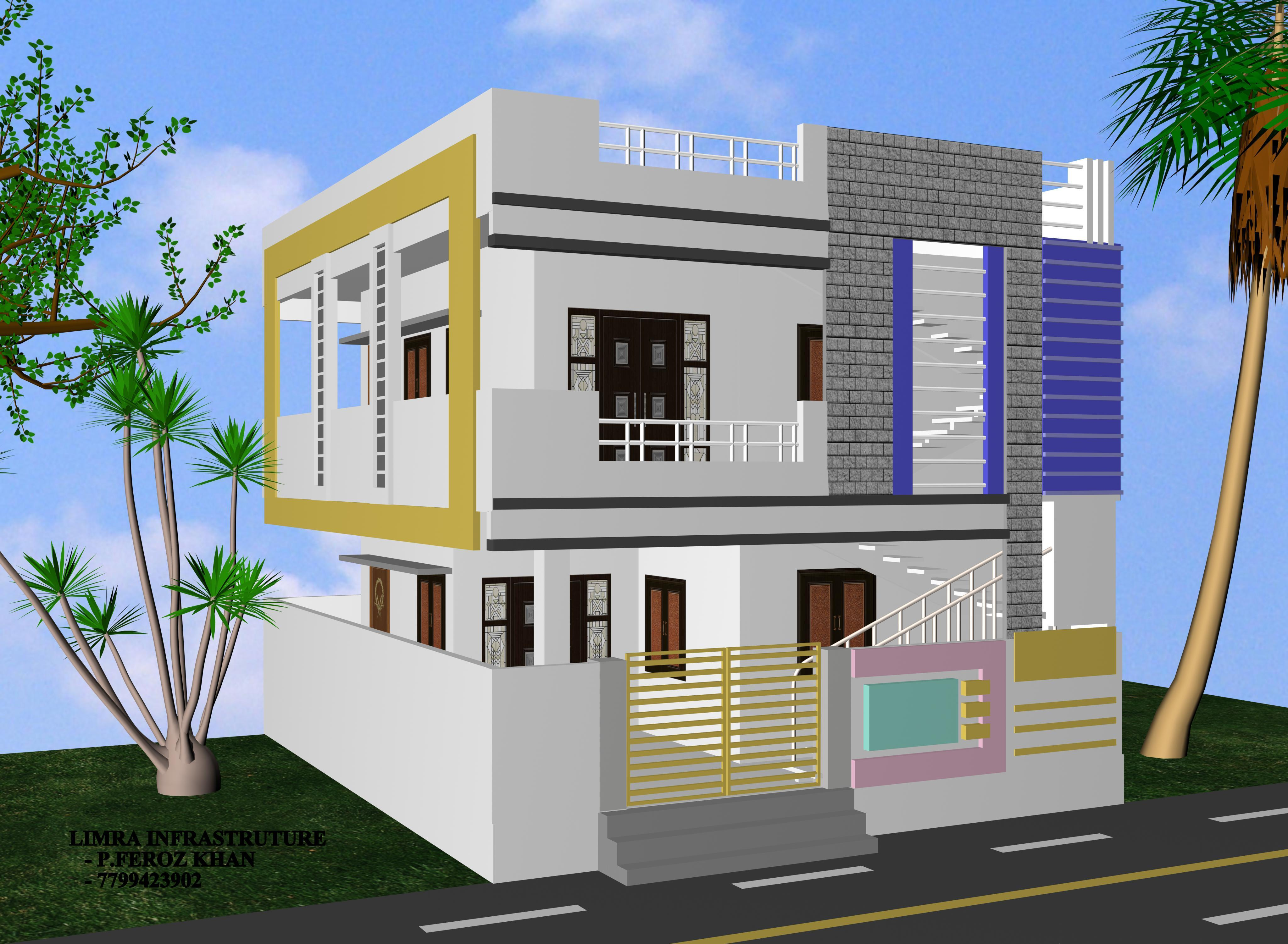 Single Floor Elevation Building : Single floor front elevation of residential building joy