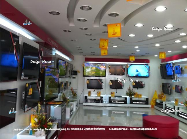 Wall Decor Showroom : Tv showroom ceiling design furniture wall paneling