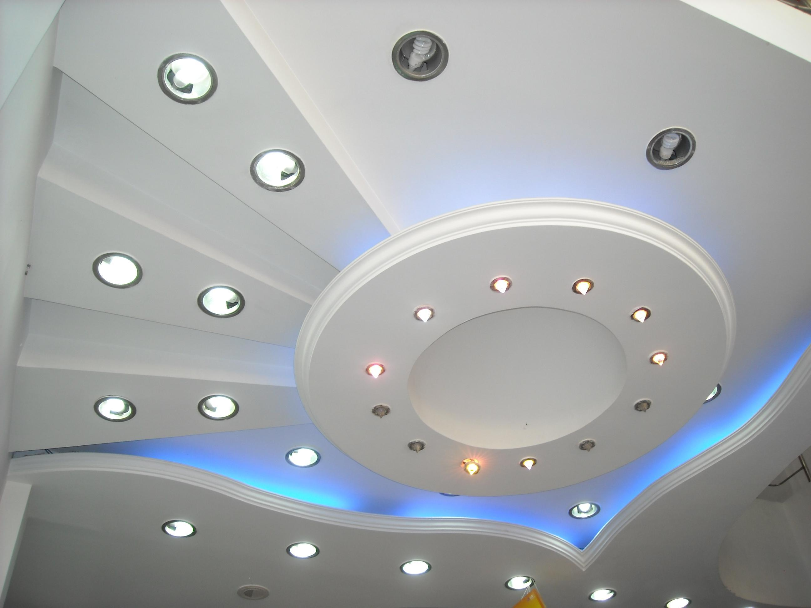 Exotic Ceiling Design In Pop Using Led Lights Gharexpert
