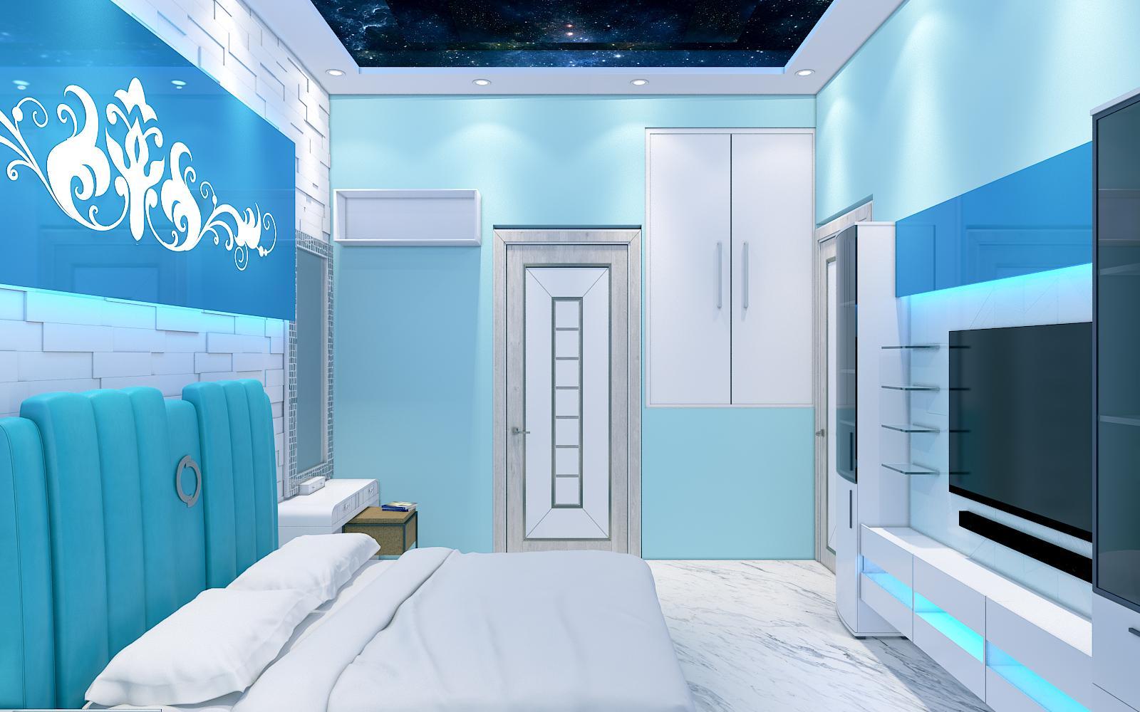 Aqua Bedroom 3D Design