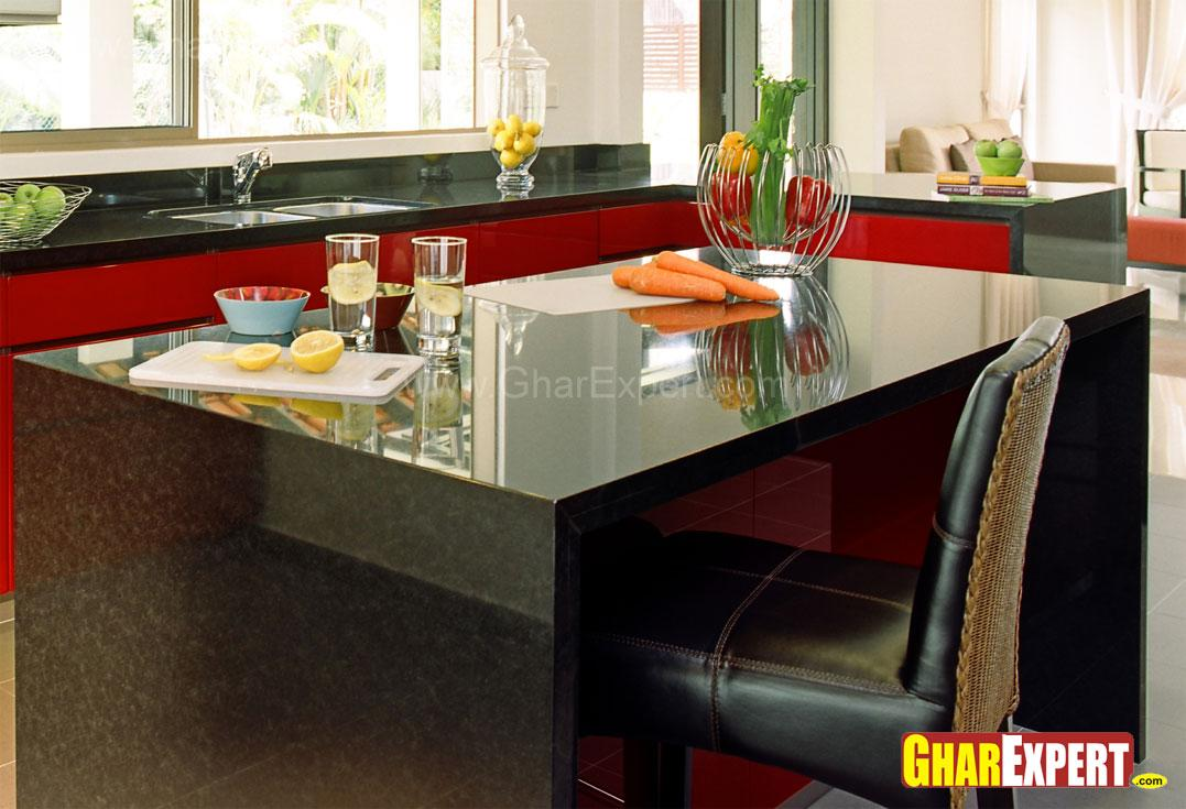 Kitchen island made with black....