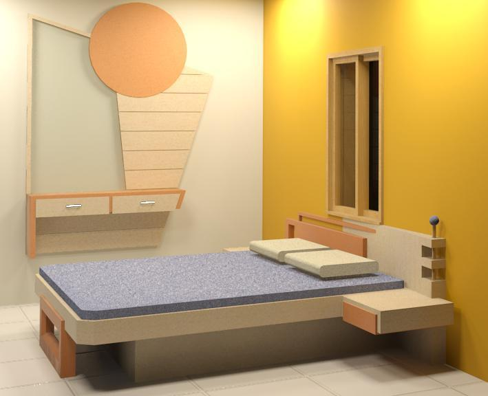 Master Bed With Wall Hung Dres