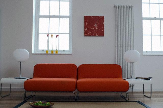 Rust color sofa for living room with wooden windows and for Living room with rust colored sofa
