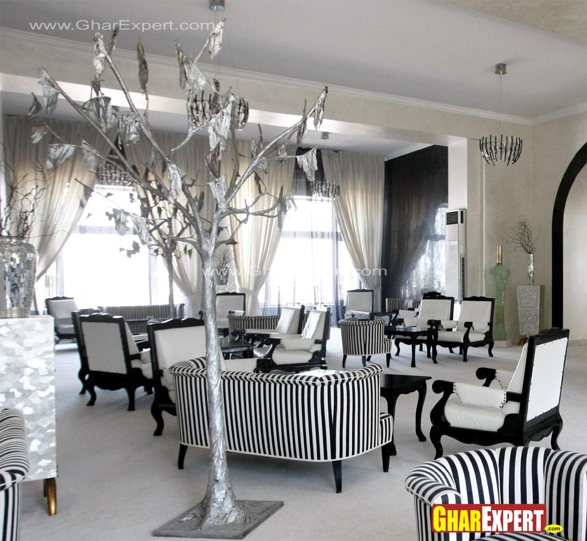 Living room with striped sofa ....