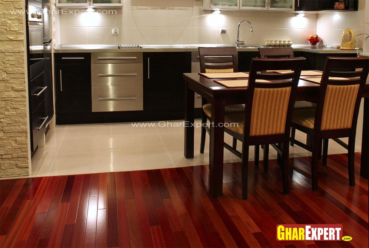 image of kitchen colors with dark cherry wood i
