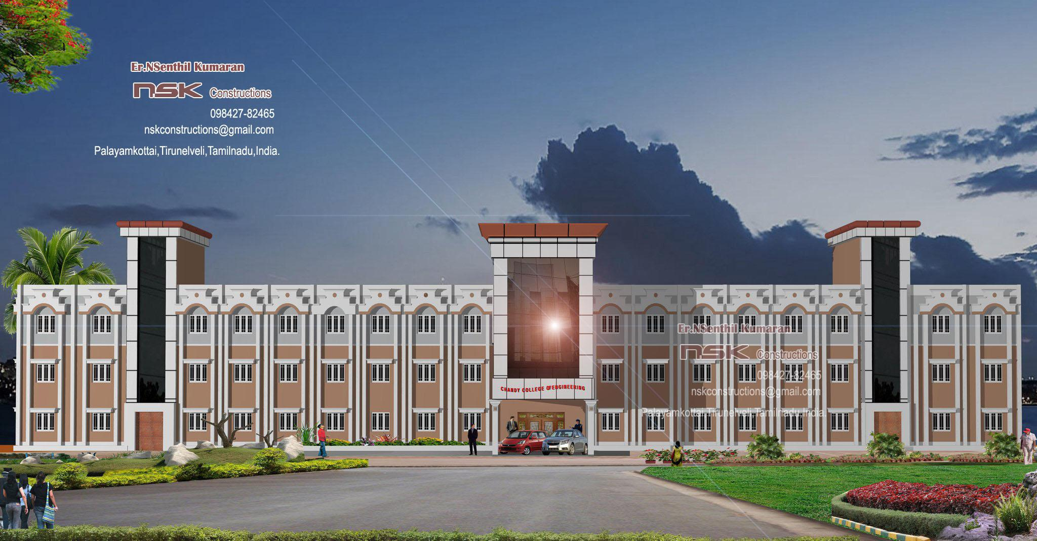 Elevation of college building