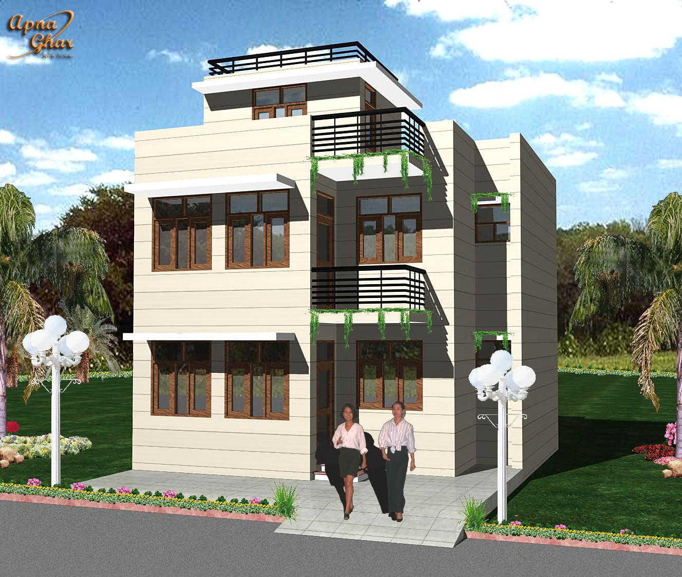 Front Elevation For 2 Floor Building : Exterior elevation of floor house gharexpert