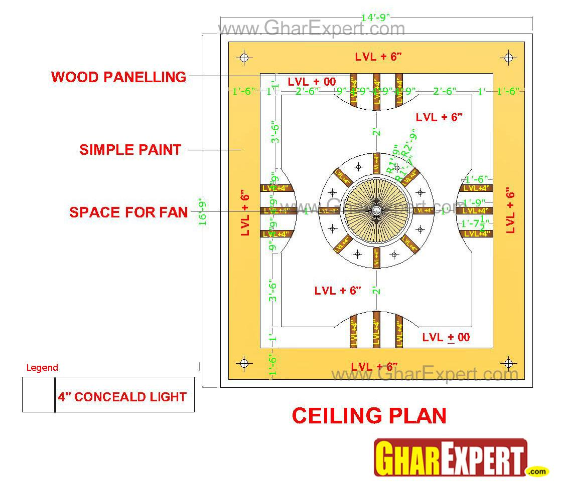 False Ceiling Plan Elevation Section : Pop false ceiling design with royal dome at the center
