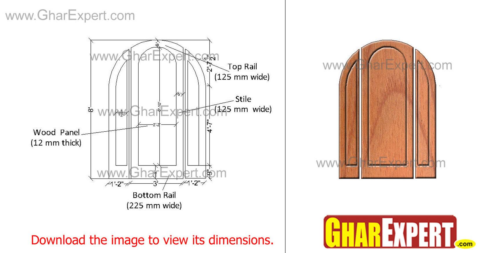 arched top wooden door with si....