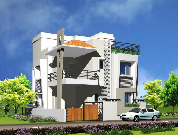 3d view for exterior of house front elevation of house for Front view of duplex house in india