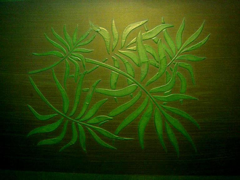 faux leafy pattern on wall