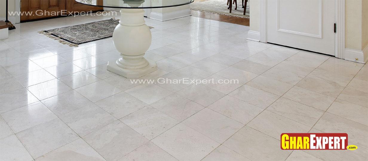 White marble tile flooring