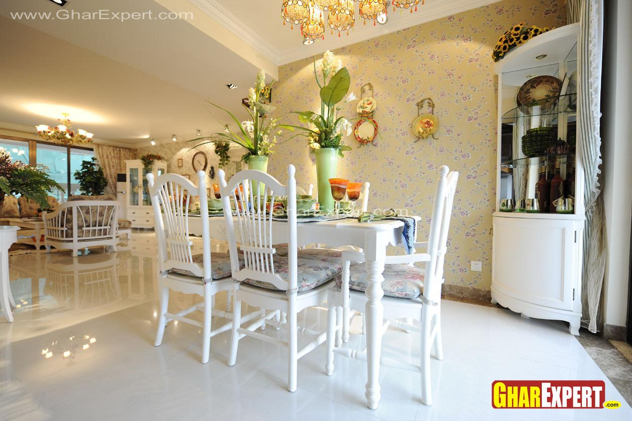 White colored wooden 6 seater ....