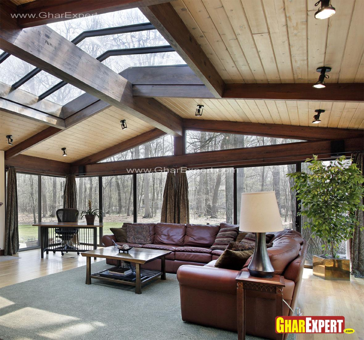 Skylight and glass walls in li....