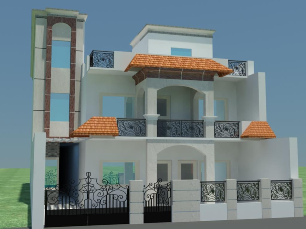 Indian house front elevation designs houses plans designs for Indian home front design