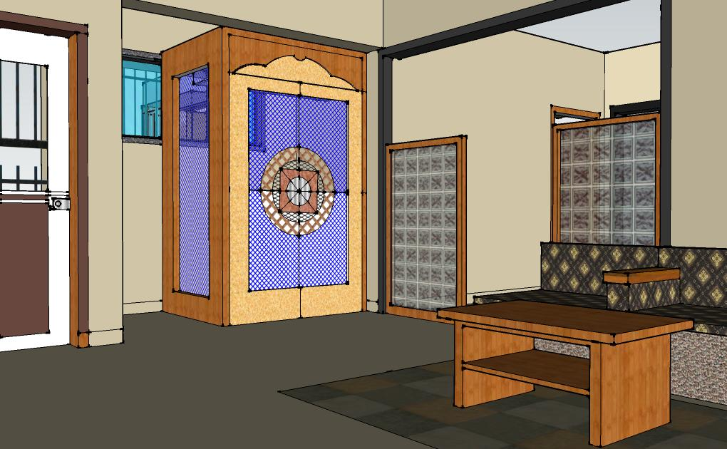 Compact living room with Mandir GharExpert