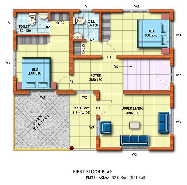 2BHK floor plan for first floo....