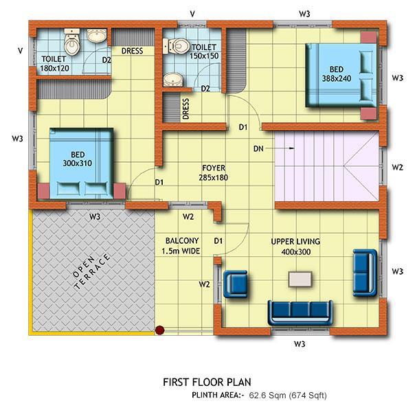 2BHK Floor Plan For First Floor