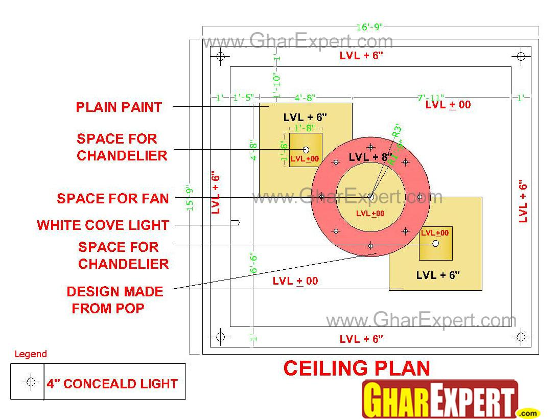 False ceiling design drawing with different levels of POP   GharExpert