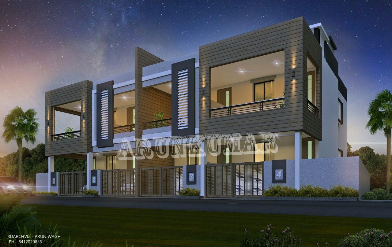Row house exterior 3d visualiz....