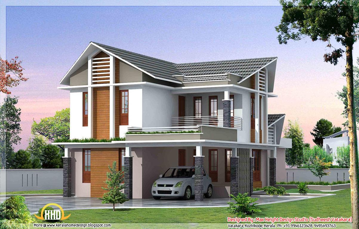 G 1 3d front elevation with car parking and balconies and for Normal home front design