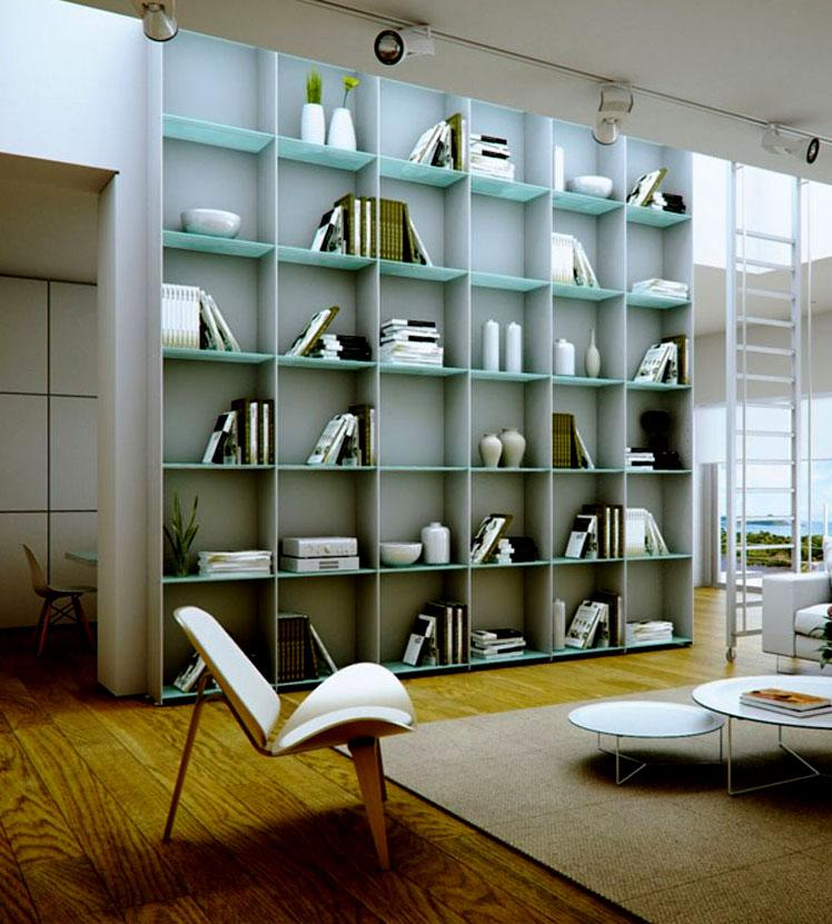 Modern Study room in white with book shelf GharExpert