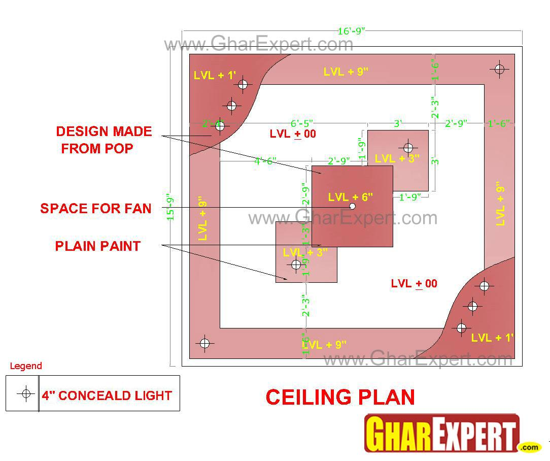 pop false ceiling design for 17 ft by 16 ft room gharexpert