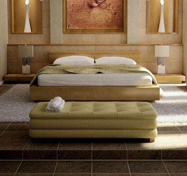 Platform bed and white rugs