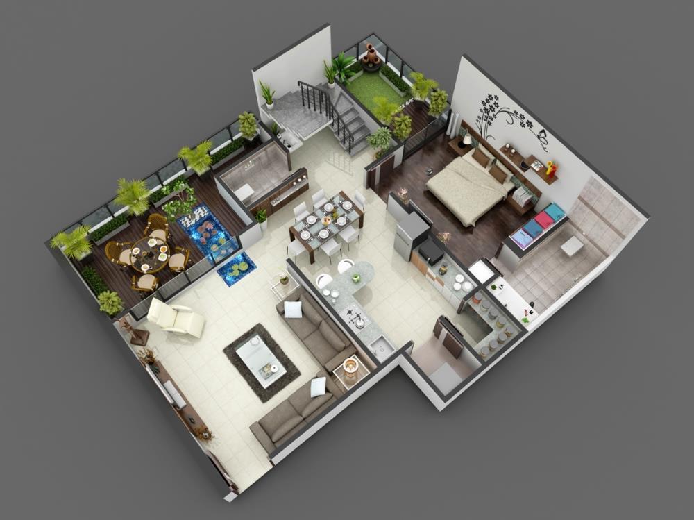 3D Luxurious Home Floor Plan