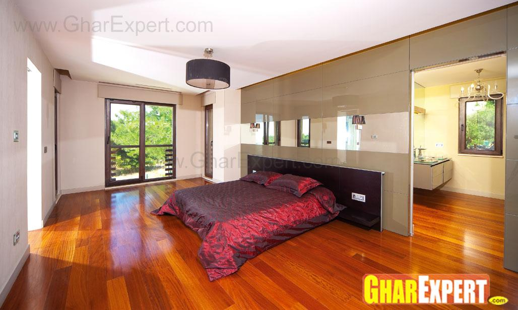 bedroom with wooden and black ....
