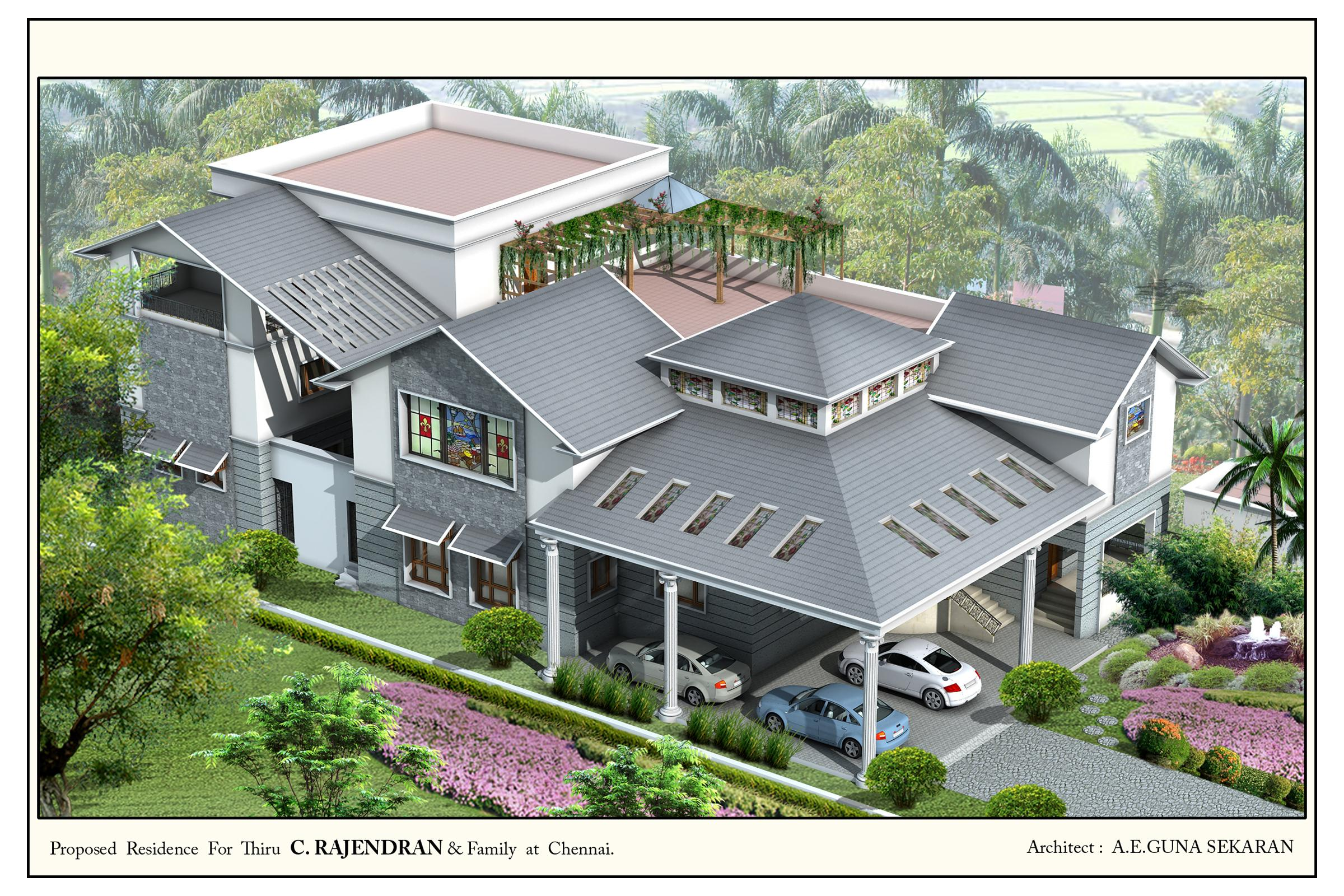 Top view of the residential house elevation in 3d gharexpert for The view house