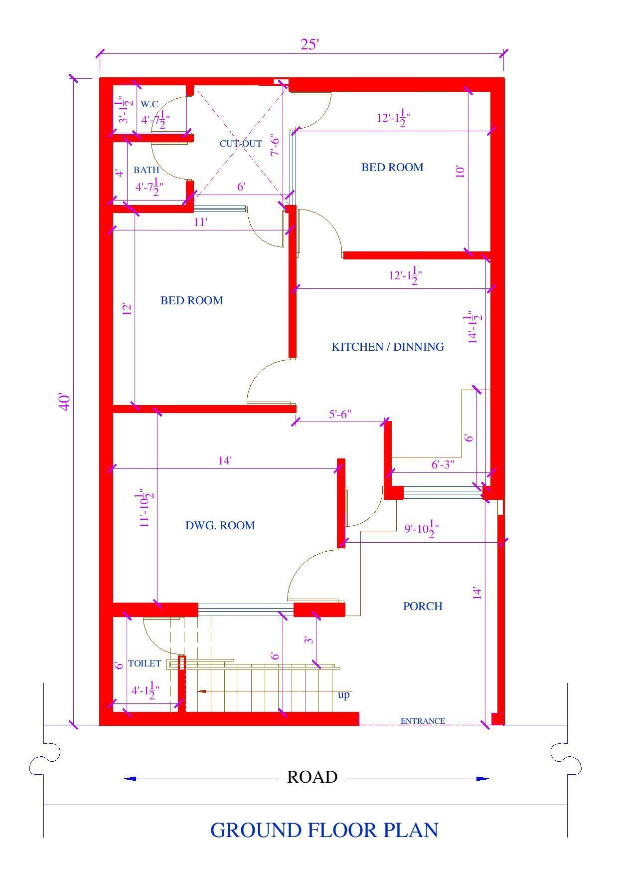 25 by 40 feet 2bk house plan