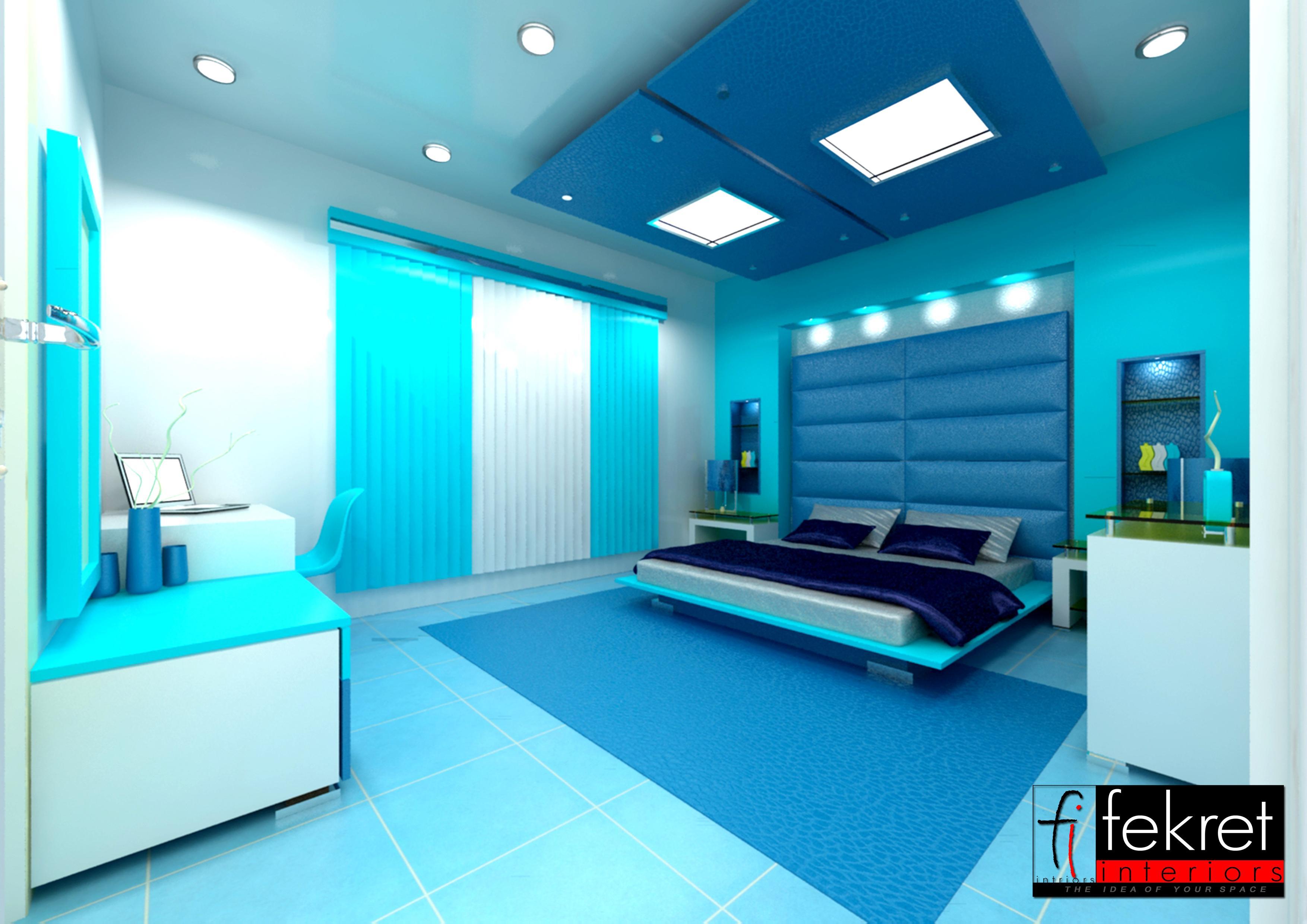 cool blue bedroom - GharExpert