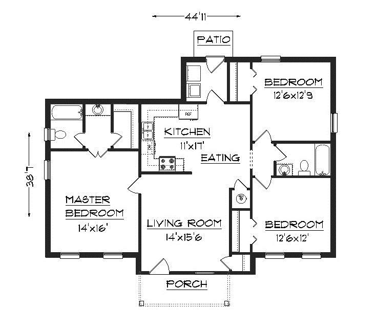 3BHK floor plan with rear and ....