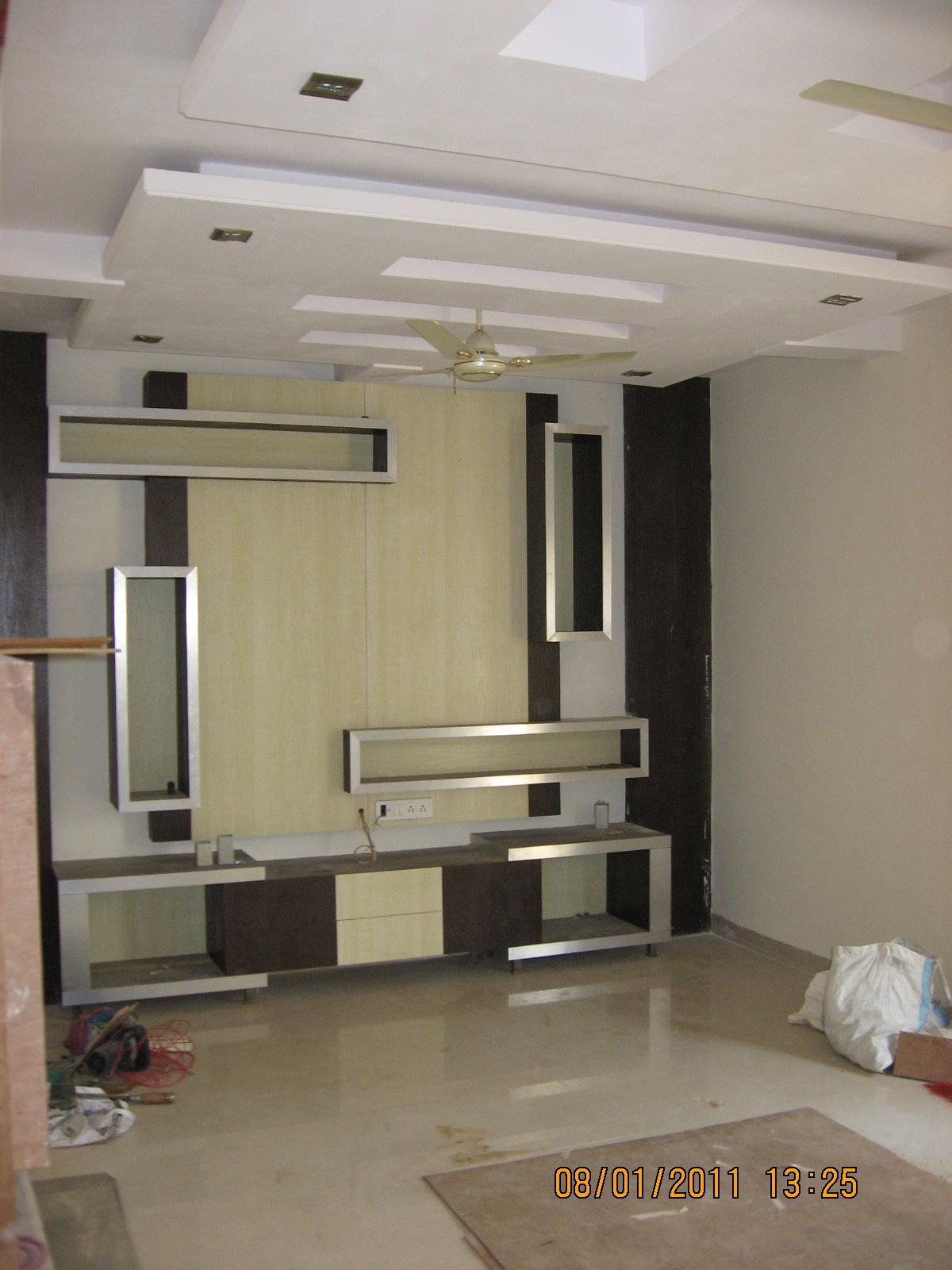 Wall desig for tv or lcd gharexpert for Interior designs for lcd tv wall unit