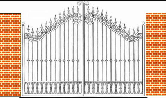 curved design iron gate