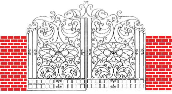 Decorative iron door design