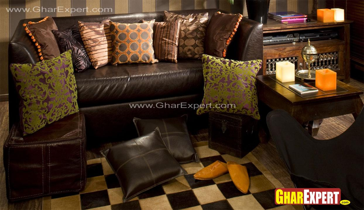 two seater leather sofa with s....