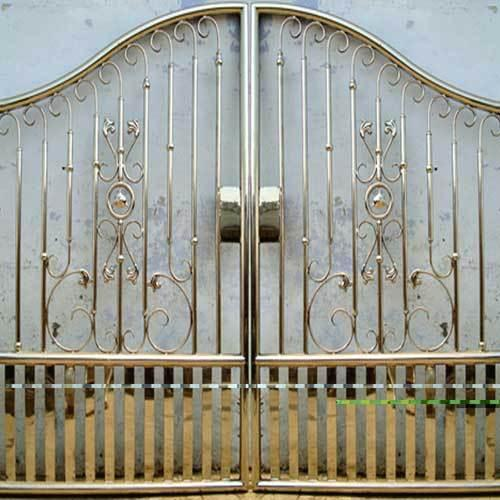Stainless Steel Gate Design Covered From Back Gharexpert