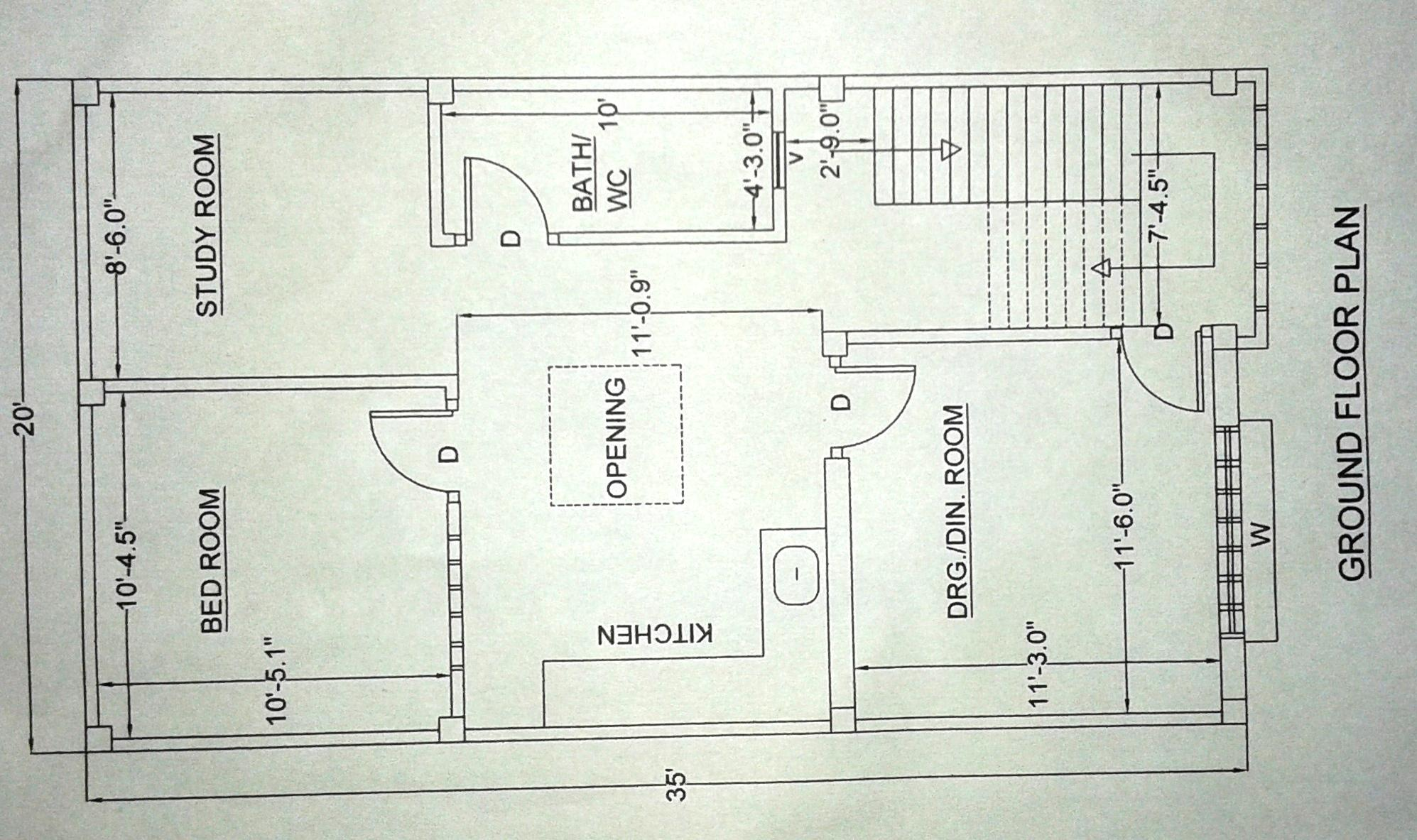 20 x35 house plan GharExpert