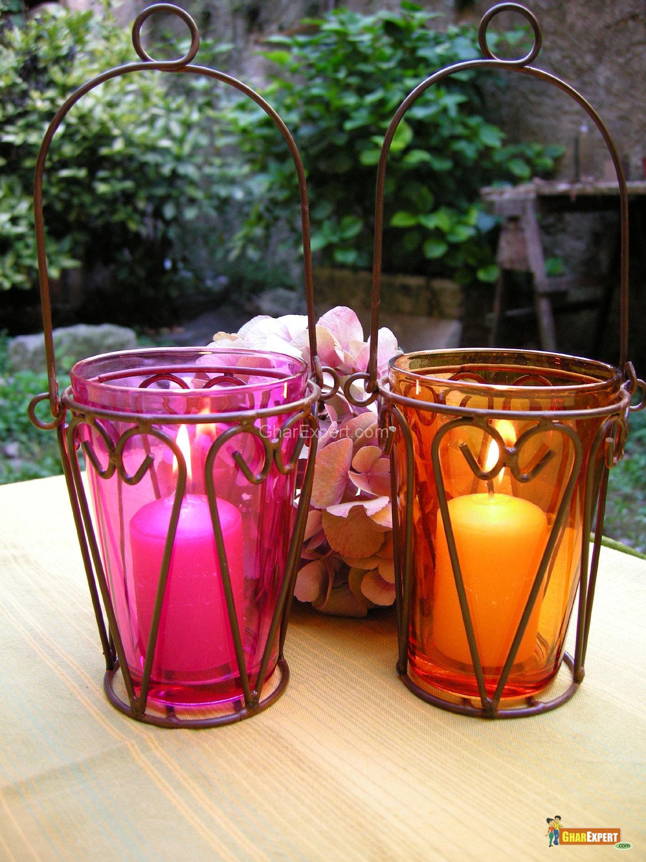 Colorful Glass Lanterns in Gar....