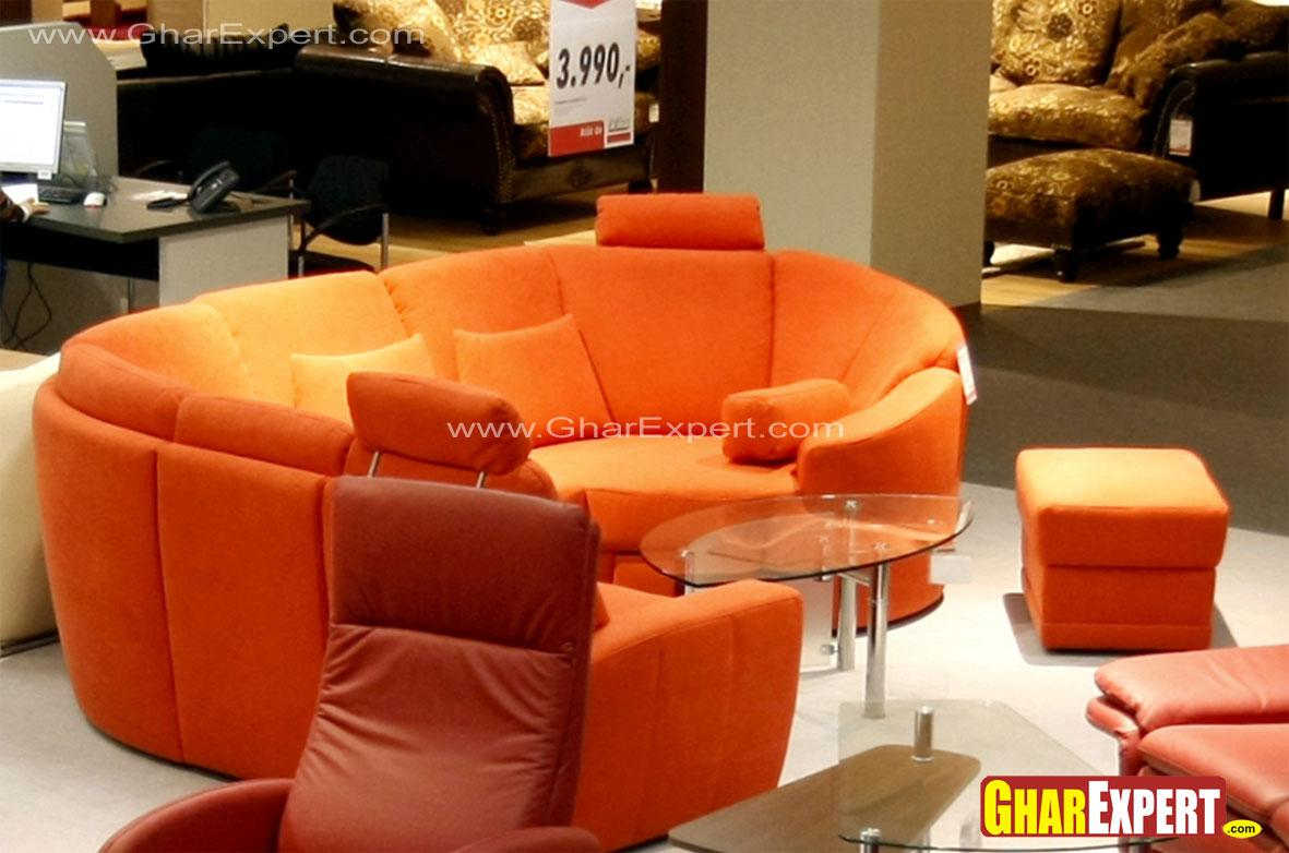 Modern orange curved sectional....