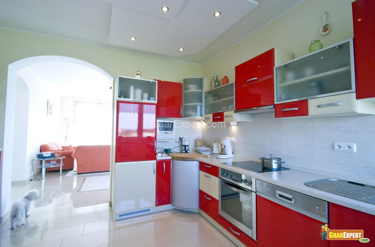 Single full Image for all new red kitchen cabinets Red Kitchen Cabinets