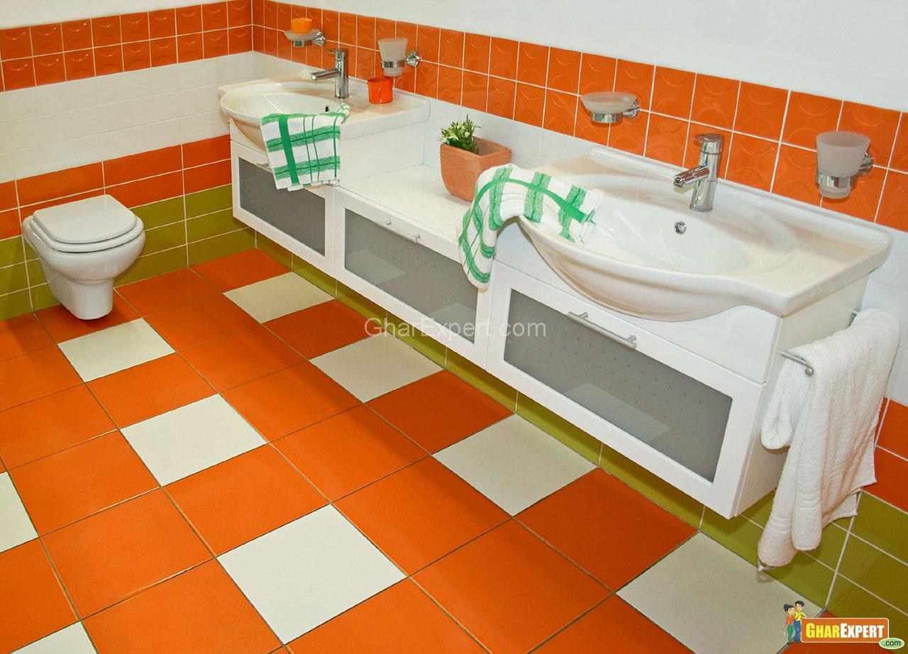 Orange Bathroom GharExpert