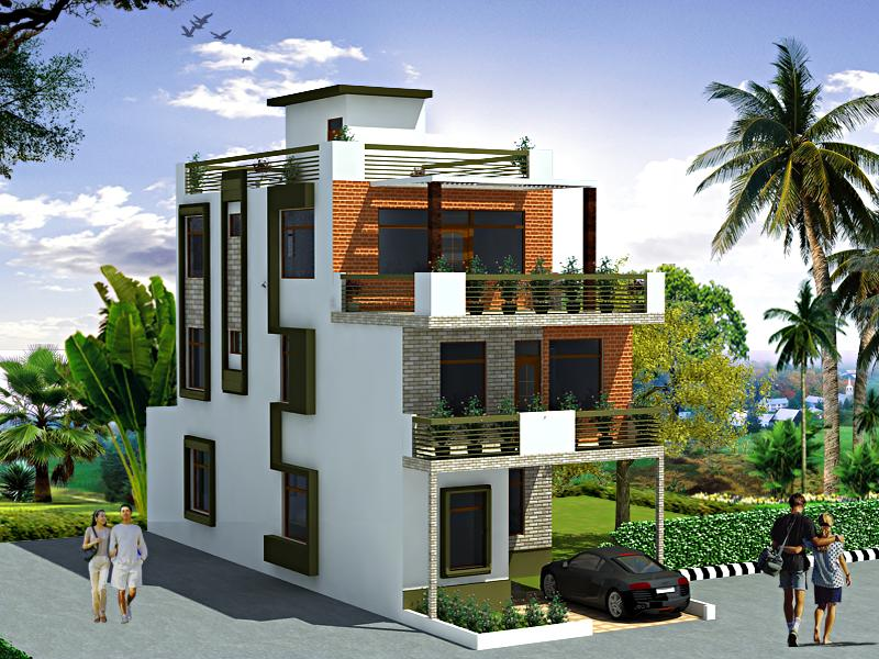 Exterior elevation design in 3d for 3 story house gharexpert for 3 storey building front elevation