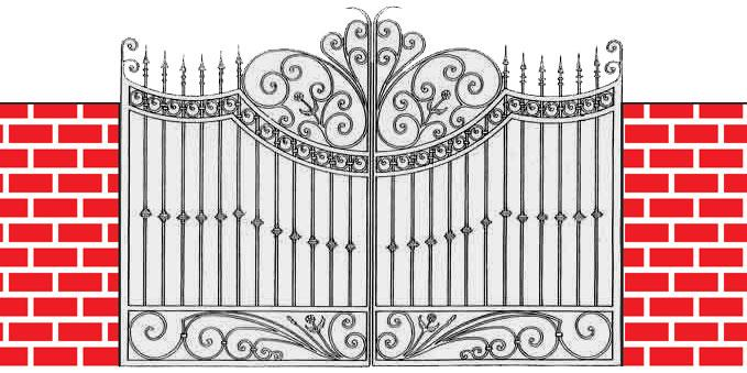 iron gate design drawing